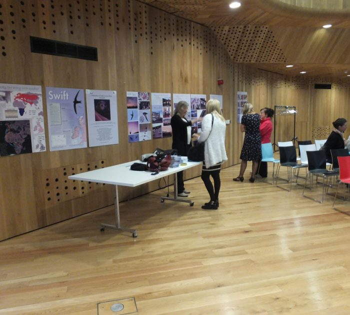 The swift information display boards at the Dublin Forum in 2016