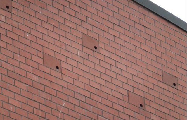 Antrim Library with swift boxes camouflaged to look like additional bricks that have been incorporated into the existing brickwork.