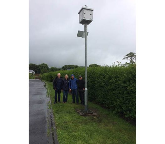 Left to Right : John McHugh, Principal of Foxford National School, Lynda Huxley of Swift Conservation Mayo, Paddy and colleague from Stoneyford Engineering.